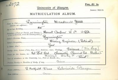 Symington Macdonald Matriculation Slip 1912-13