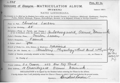 Christine Larsen, Matriculation Slip 1908-09