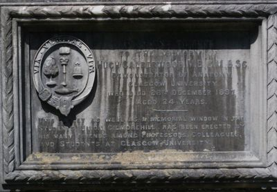 Hugh Calderwood Memorial plaque