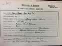 Tsoo Hong Lee's matriculation slip 1913-14