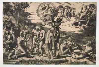Marcantonio Raimondi (Bologna c.1480–1527/34) after Raphael (Urbino 1483–1520 Rome) The Judgement of Paris, c1517–1520 engraving 29.1 x 42.8 Hunterian Art Gallery, GLAHA 6745 W.R. Scott bequest, 1940