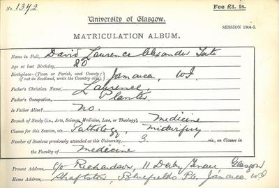 David Laurence Alexander Tate matriculation slip