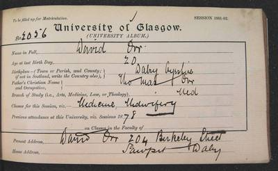 David W Orr, matriculation slip, 1881-82