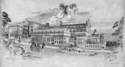 Drawing of West Medical Building by Architect James Miller