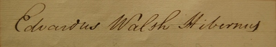 Edward Walsh, signature in Register of Doctors of Medicine, 1791