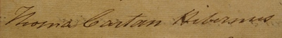 Thomas Cartan, signature in Register of Doctors of Medicine, 1818