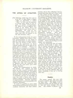 Alfred Basil Blake Athletics Article for GUM Magazine 1918