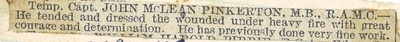 John McLean Pinkerton, Newspaper clipping