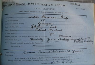 Walter Hermann Kiep matriculation slip