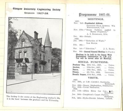 Programme for the Engineering Society 1927-28 including lecture by J L Baird