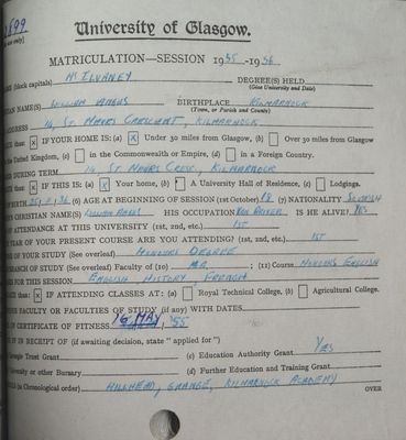 William McIlvany Matriculation slip 1955-56