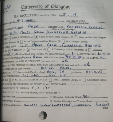 William McIlvany Matriculation slip 1958-59