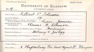 Gilbert Petgrave Johnson first matriculation slip 1886