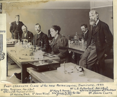 Mary Baird Hannay in the Postgraduate Pathology Class 1897