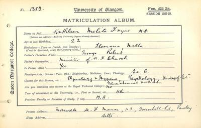 Kathleen Fryer Matriculation Slip 1927-28