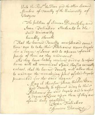 Letter from Simeon Desnitzky and Ivan Tretjakoff, 1767
