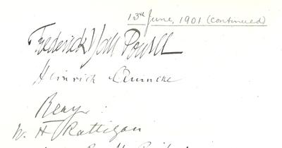 Heinrich Quincke entry in Honorary Degree register 1901