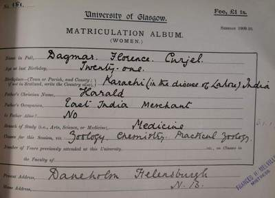 Dagmar Curjel matriculation record 1909-10
