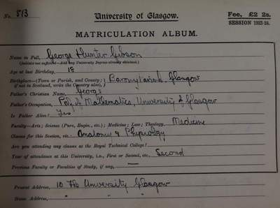 George-Hunter-Gibson-matriculation