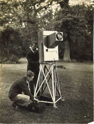 John Logie Baird and G B Banks operating a Noctovisor 1929