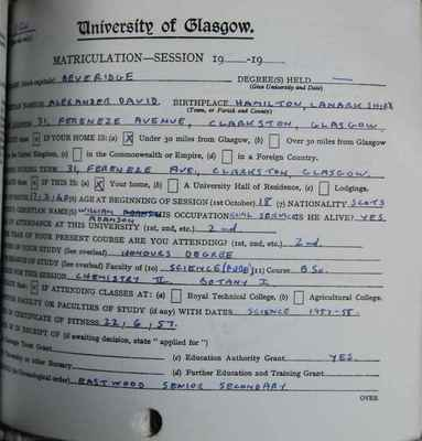Alexander Beveridge's matriculation slip, 1958-1959