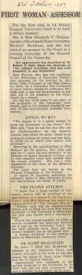 Elizabeth Carlaw Wallace's Press Clipping