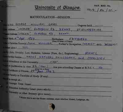 George Grey's Matriculation Slip
