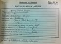 Jenny Isobel Brown (Gilbertson)-Matriculation Record 1923-1924-R8/5/44/1