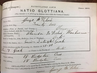 George McKelvie, matriculation slip, 1880-81
