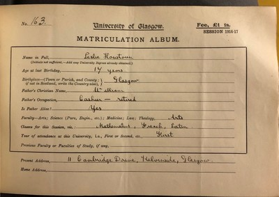 Matriculation record for Leslie Houstoun