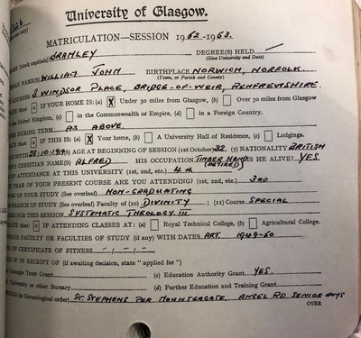 Matriculation record for William Bramley 1952-3