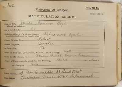 James Cameron Boyd Matriculation Slip